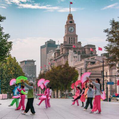 상하이, 중국, 댄스팀, 무용단