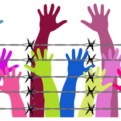 인간 교도소 철조망 손